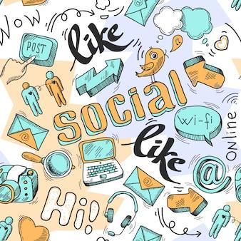 Illustrazione vettoriale senza soluzione di continuità del modello di social media di doodle
