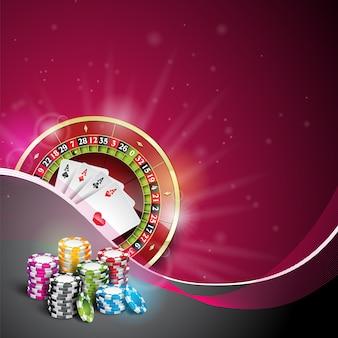Illustrazione vettoriale su un tema del casinò con il colore che gioca chip e carte di poker su priorità bassa scura.