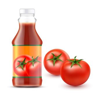 Illustrazioni vettoriali di bottiglia trasparente con ketchup di pomodoro e due pomodori rossi freschi