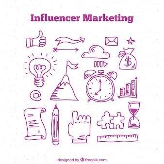 Influenza del design del doodle di marketing
