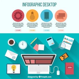 Infografia di desktop con elementi di ufficio