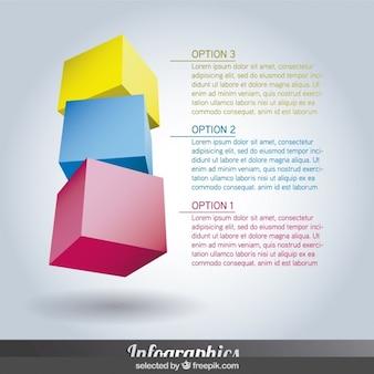 Infografica colorato con cubetti
