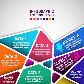 Infografica con disegno geometrico poligonale astratto