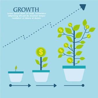 Infografica con tre piante in crescita