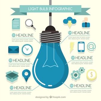 Infografica lampadina con le icone piane