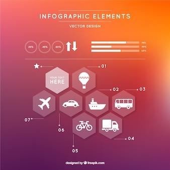 Infografica moderno con esagoni