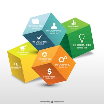 Infografica progettazione 3d cubo