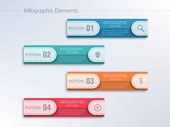 Infografie colorate con quattro opzioni