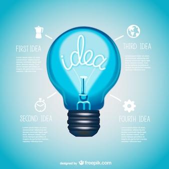 Information design vettoriale lampadina presentazione