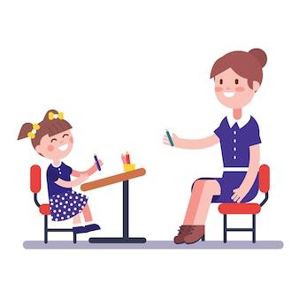 Insegnante o tutore di casa che studia con la sua ragazza pupilla