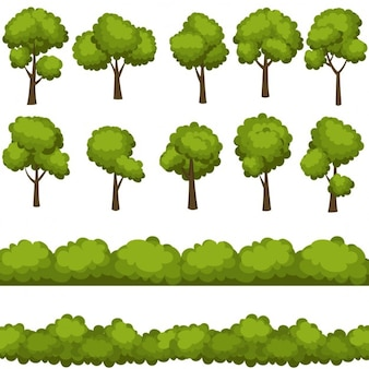 Insieme degli alberi dei cartoni animati divertenti e cespugli verdi