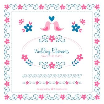 Insieme degli elementi di nozze rosa e blu