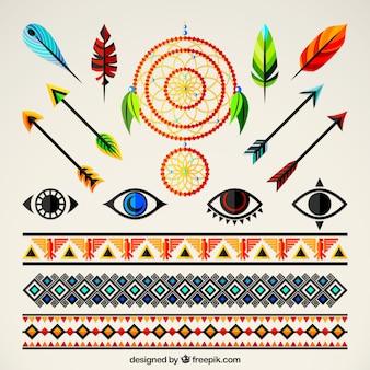 Insieme degli ornamenti e elementi etnici