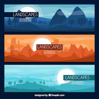 Insieme delle bandiere con le montagne