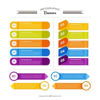 Insieme moderno di striscioni colorati infographic