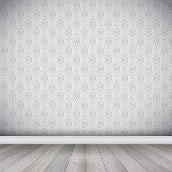 Interni con carta da parati damascata e pavimento in legno