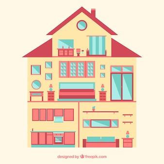 Interno della casa con mobili in design piatto