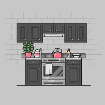 Interno della cucina moderna