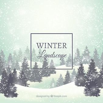 Invernale innevato paesaggio di sfondo