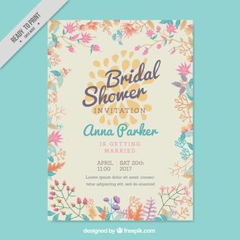 Invito Bachelorette con fiori colorati a forma piatta