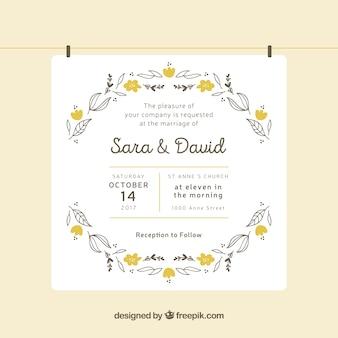 Invito di nozze a mano con fiori gialli