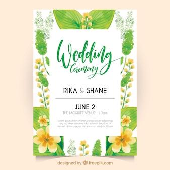 Invito di nozze con fiori di acquerello