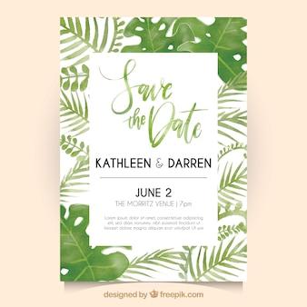 Invito di nozze con foglie di acquerello