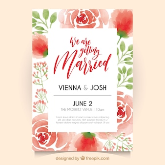 Invito di nozze con rose acquerello