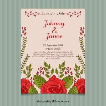 Invito di nozze con rose