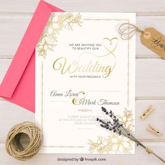 Invito di nozze dorato in stile vintage