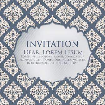 Invito di nozze e scheda di annuncio con opere d'arte di sfondo d'epoca. Elegante ornato sfondo damascato. Elegante ornamento floreale astratto. Modello di progettazione.