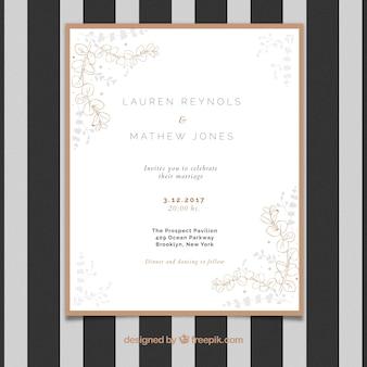Invito di nozze elegante con decorazioni floreali