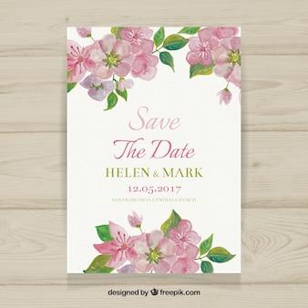 Invito di nozze floreale in stile acquerello