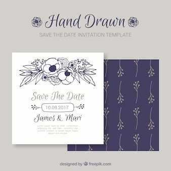 Invito di nozze sveglio con fiori disegnati a mano