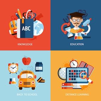Istruzione di scuola di conoscenza distanza di apprendimento icone impostare isolato illustrazione vettoriale