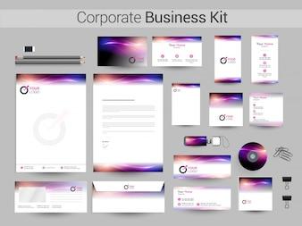 Kit business aziendale con onde incandescente.