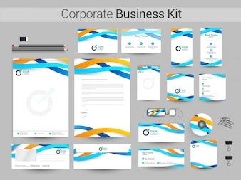Kit di identità aziendale con onde blu e gialle.