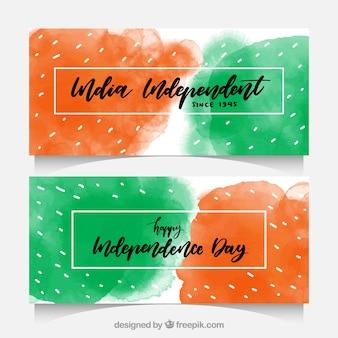 L'acquerello macchia banner di india indipendenza giorno