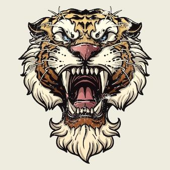 La rabbia della tigre. Illustrazione vettoriale di una testa di tigre