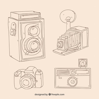 La raccolta di fotocamere abbozzi