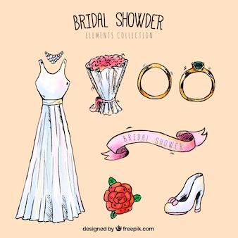 La selezione di accessori da sposa decorativi