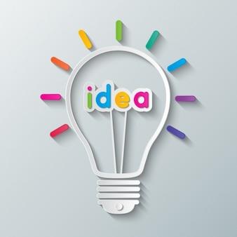 "Lampadina con la parola ""idea"""