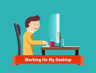 Lavorando sul mio concetto desktop illustrazione piatta