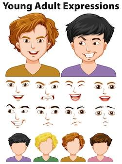 Le espressioni dei giovani con volti diversi