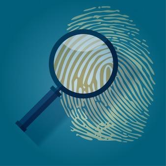 Lente di ingrandimento sopra un'impronta digitale