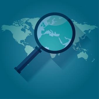 Lente di ingrandimento su una mappa del mondo