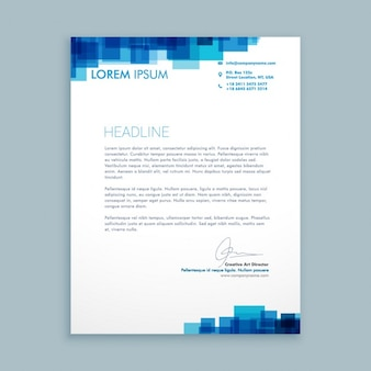 Lettera di affari con i quadrati blu