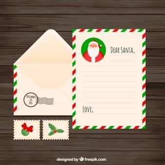 Lettera di Natale Piatto con busta e francobolli