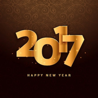 Lettering 3d per il 2017 nel colore dorato