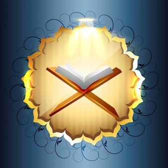 Libro religioso di illustrazione vettoriale di quraan